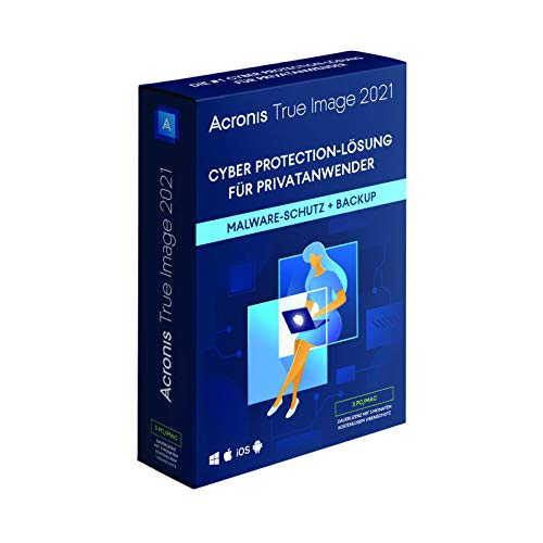 Acronis True Image 2021 | 3 PC/Mac | Cyber Protection-Lösung für Privatanwender| Integriertes Backup und Virenschutz | iOS/Android | Unbegrenzte Laufzeit | Box-Version