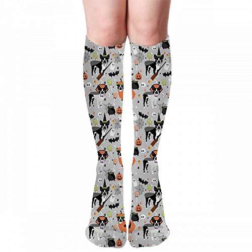 uytrgh Boston Terrier Disfraz de perro de Halloween, raza de perro, bruja, calabaza, dulces, lindo perro gris impreso calcetines deportivos, ropa de calle, neutral moda casual calcetines deportivos
