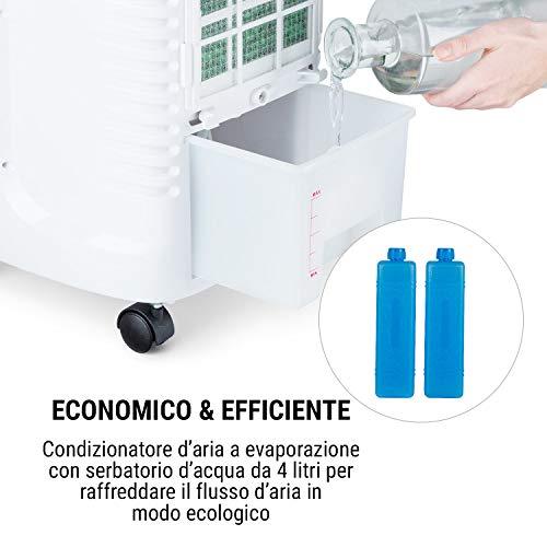 oneConcept Coolster - Raffrescatore Evaporativo, Ventilatore, Ionizzatore & Umidificatore 4in1, 60 W, Flusso d'Aria: 320 m³/h, 3 Velocità di Ventilazione, Serbatoio da 4 Litri, Timer, Bianco Zinco