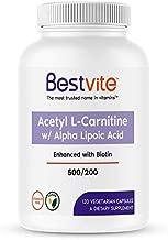 Acetyl L-Carnitine 500mg & Alpha Lipoic Acid 200mg per Capsule with Biotin (120 Vegetarian Capsules) - No Stearates - Vegan - Non GMO - Gluten Free