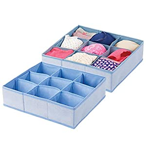mDesign Soft Fabric Dresser Drawer and Closet Storage Organizer Bin for Lingerie, Bras, Socks, Nylons, Ties, Belts, Tank Tops, Small Accessories – Divided 9 Section Tray
