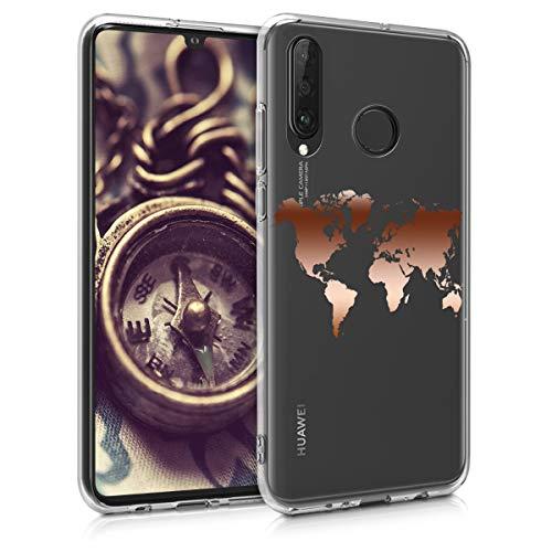 kwmobile Hülle kompatibel mit Huawei P30 Lite - Handyhülle - Handy Case Travel Umriss Rosegold Transparent