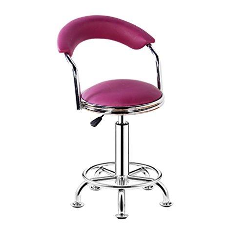 Decorative stool Bar Chair, Round Stool Household Beauty Salon Stool Backrest High Chair Steering Chair Reception Desk Chair Rotatable Liftable Chair Lift height 44-56cm (Color : Purple)