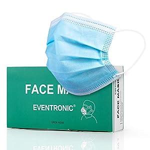Eventronic Mask Maschera protettiva monouso a 3 strati, Anti-polline, antipolvere, traspirante e confortevole Cuffie elastiche Tipo di filtro Protezione facciale Visiera 50Pz