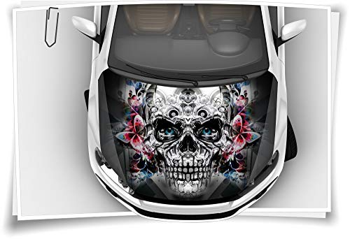 Motorhaube Auto-Aufkleber Totenkopf Skull Schmetterlinge Metall Silber Steinschlag-Schutz-Folie Airbrush Tuning Car-Wrapping Luftkanalfolie Digitaldruck Folierung