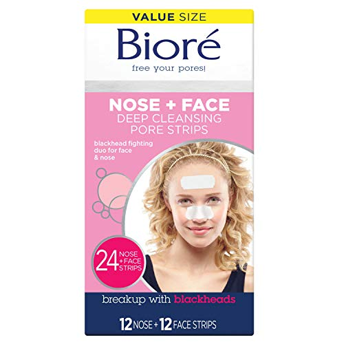 Bioré Nose+Face, Deep Cleansing Pore Strips, 24 Count Value Size, 12 Nose + 12 Face Strips for Chin...