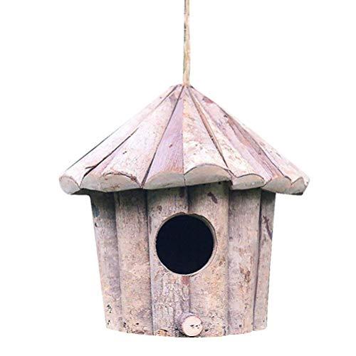 LLSS Maison d'oiseau en Bois décoratif Petit nichoir Oiseaux Maison Ornements Suspendus nid d'oiseau pour Accessoires Photo Jardin décor à la Maison