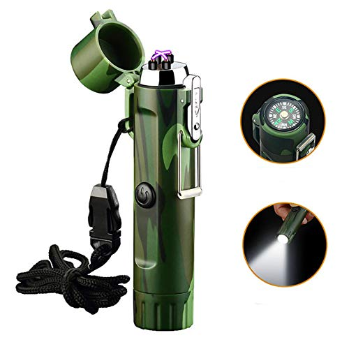 CNXUS Waterproof Flameless Electric Lighter, Outdoor Lighter with Safety Lock - Dual Arc Plasma Beam Lighter, Waterproof USB Rechargeable Flameless for EDC Camping Survival Tactical, Camouflage