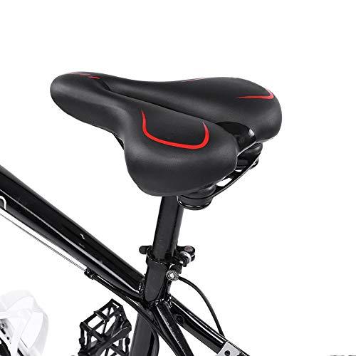 Soulong Fietszadel met stabiel stalen frame breed zadel voor mountainbikes en road bike, goed ademend, polyurethaan staal, zwart, 25 x 20 x 9 cm