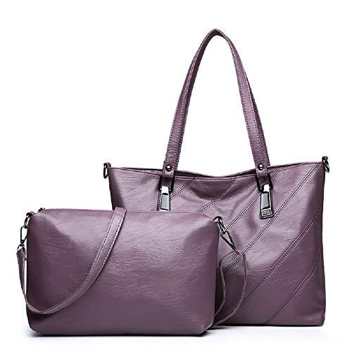 WOAIBAOBAO Frauen-Einkaufstasche-Weiblicher Eimer-Schulter-Beutel-Dame Leather Messenger Bag 2Pcs / Set Pu-Lederne Dokumenten-Beutel