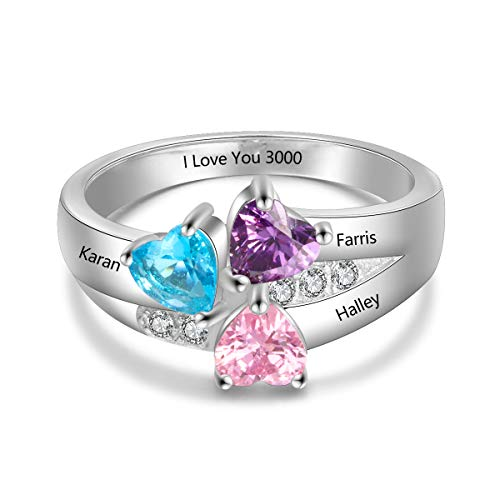 Lam Hub Fong Personalized 3 Simulated Birthstone Mothers Rings for 3 Engrave Name Rings for Family Mother's Day Friends Gifts (11)