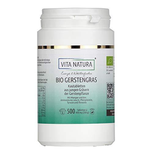 VITA NATURA Bio Gerstengras Tabletten - aus Bayern - Bio zertifiziert - Gerstengraspulver - Nahrungsergänzungsmittel - 500 Tabletten in einer Packung