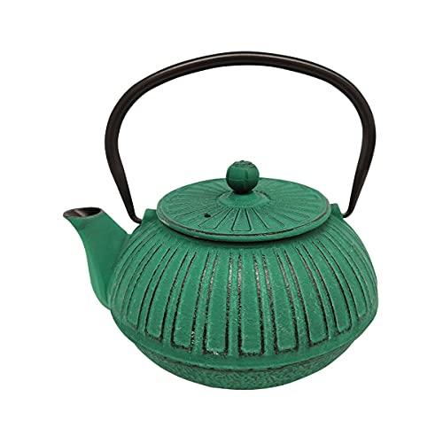 CAPRILO. Tetera Decorativa de Hierro Colado Verde Te e Infusiones. Menaje de Cocina. Regalos Originales. 15 x 13 x 9 cm