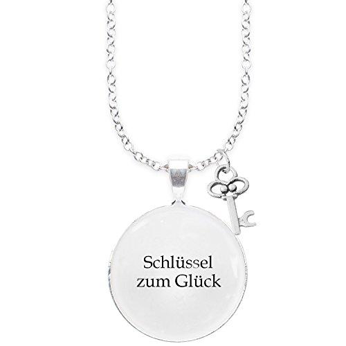 Spruchketten BY LIEBLICHKEITEN Nickelfreie Kette mit Sterlingsilber-Legierung 80 cm mit Anhänger Spruch in 2,5cm großer Glaslinse und Charm Schlüssel: Schlüssel zum Glück