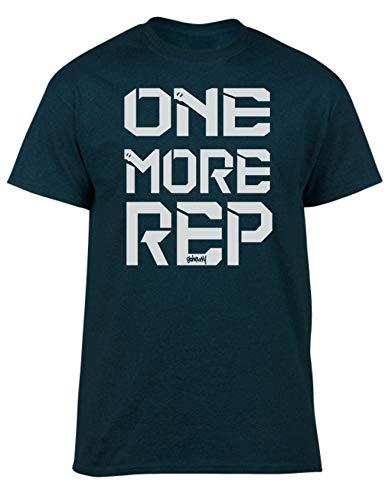GO HEAVY T-Shirt Hombres | Camiseta para Fitness Gym | Camisa Deportiva con Estampado | One More Rep Verde XL