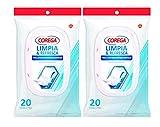 Corega Limpia & Refresca - Toallitas limpiadoras para prótesis dentales - 20 unidades