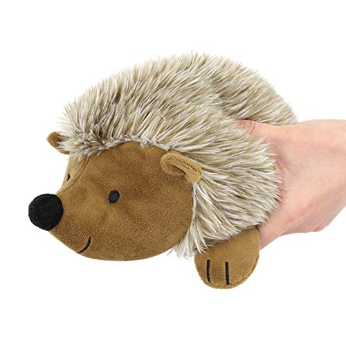 Pawaboo Squeak Plush Dog Toy, Non-Toxic Super Soft Faux-Fur Hedgehog Dog Chew Toy Stuffed Biting Training Playing chew Toys for Medium Large Dogs 1 Pack, Brown