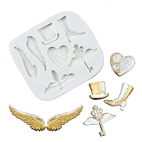 sina Flügel Hut Damen Schuhe lieben Silikonform-Flügel Hut Damen Schuhe lieben Kuchen Schimmel-Flügel Hut Damen Schuhe lieben Backform-3Stück
