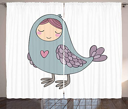 ABAKUHAUS Russland Rustikaler Gardine, Russischer Volks Sirin Vogel, Schlafzimmer Kräuselband Vorhang mit Schlaufen und Haken, 280 x 175 cm, Mehrfarbig