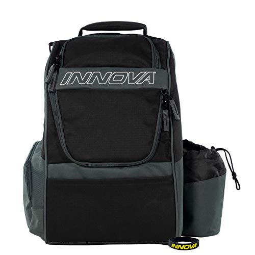 Innova Adventure Pack Backpack Disc Golf Bag – Holds 25 Discs – Lightweight – Includes Innova Limited Edition Stars Mini Marker (Black/Grey)