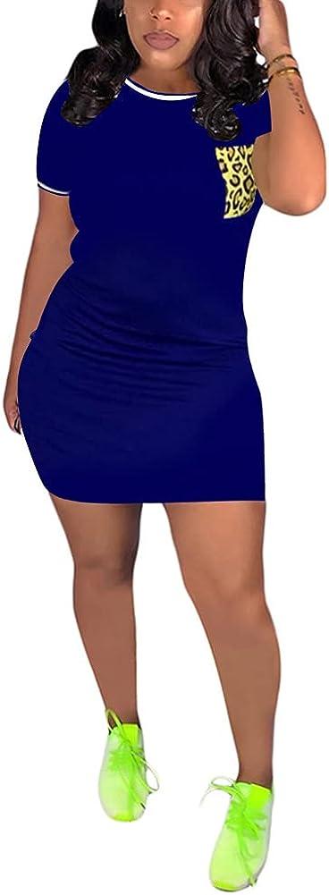 Choichic Tshirt Dresses for Women Casual Short Sleeve Bodycon Mini Dress