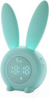 Lindo Conejo Despertador Despertador Despertar Luz Lámpara Creativa Luz de Noche Silenciosa, Función de Posponer, Luz de Noche Temporizada, Ideal para Niños, Niñas, Bebé, Habitación de los Niños