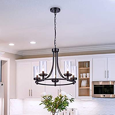 Loclgpm Black Wheel Chandelier, Vintage Industrial 5 Lights Candle Pendant Light with Clear Glass Shade, Semi Flush Mount Ceiling Lighting Fixture for Foyer Bedroom Living Room Kitchen Island Hallway