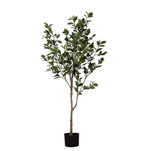 ZJHCC Laurel Artificial 120cm Maceta de Plantas Artificiales nórdico Piso Grande Planta Verde Bonsai decoración de Sala de Estar Interior árbol Falso
