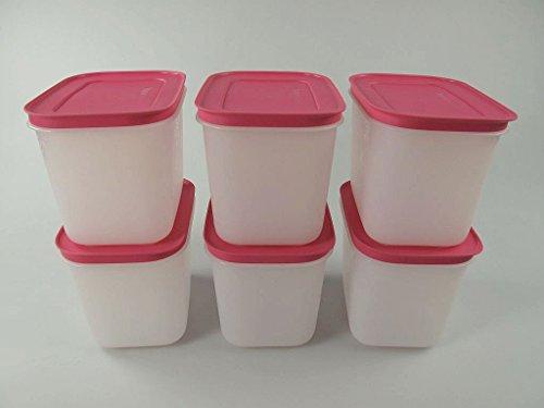 TUPPERWARE Gefrier-Behälter 1,1L weiß-pink Eiskristall (6) Eis-Kristall Behälter P 21673