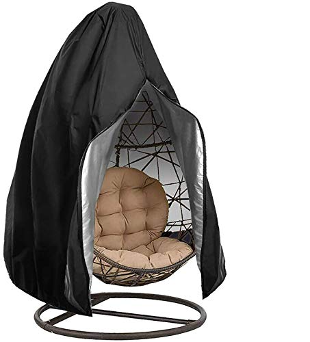 LKHF Hängende Stuhlhülle, Patio-Stuhlhülle mit Reißverschluss, 100% wasserdichter 700D Oxford Swing Egg Stuhl Winterhülle 190x115cm (SCHWARZ)