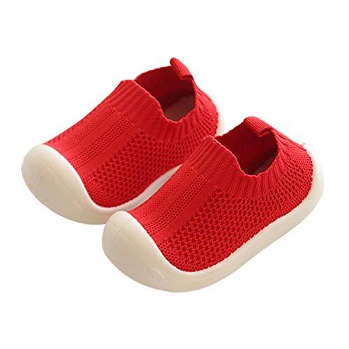 DEBAIJIA Zapatos para niños pequeños 1-5T Baby First-Walking Kid Deporte Suela Suave Malla Antideslizante Entrenador Transpirable 27/28 EU Rojo(Tamaño de Etiqueta 26)