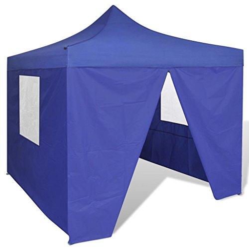 vidaXL Faltzelt mit 4 Wänden 3x3m Blau Gartenzelt Partyzelt Pavillon Bierzelt
