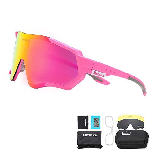 BRZSACR Polarisierte Sport-Sonnenbrille mit austauschbaren Lenes für Männer Frauen Radfahren Laufen Fahren Angeln Golf Baseball Brillen (3-Farben-Wechselobjektiv) (Pink)