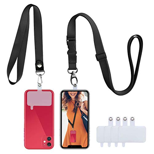 Phone Lanyard Crossbody Cell Phone Lanyard Set 2 Pcs Lanyards with 4 PVC Patchs (Black)