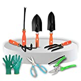 Material:Iron, Color:Orange Handle and Black Metal Item Dimension: 22 cm x 15 cm x 10 cm Package Contents:Perfect for your most garden need- In this Set Included - Fork, Trowel, Iweeder, Cultivator & Big Trowel also with Colourful Garden Gloves & Gre...