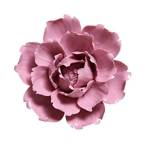 GARNECK - Flores de cerámica colgadas en la pared, adorno hecho a mano exquisito 3D artesanal de cerámica decoración colgante Luoyang peonía decoración para el salón dormitorio bar (rojo