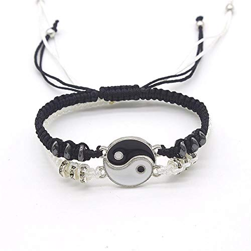 yin yang bracelets 2 Pcs Matching Yin Yang Bracelet Set Dainty Tai Chi Hand Woven Bracelet Set Adjustable Cord Bracelet Best Friend Bracelets for Women Girls Friendship Jewelry