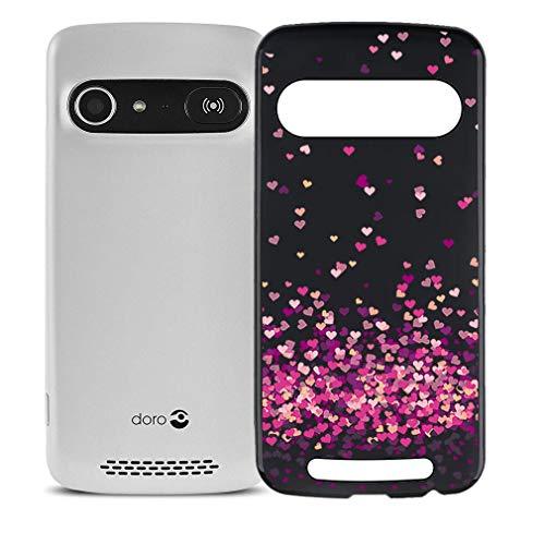"""JIENI Coque pour Doro 8042,Souple Noir Silicone Etui de Protection Bumper Housse Anti-Choc Doux TPU Coeur Rouge Gel Case Cover pour Doro 8042 (5.0"""")"""