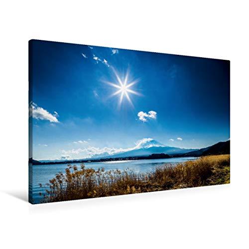 CALVENDO Lienzo Premium de 90 cm x 60 cm, Horizontal, Fujiyama, Imagen sobre Bastidor, Lienzo de Repuesto, impresión en Lienzo: Fuji-San - La Sagrada montaña en Japón Orte Lugares