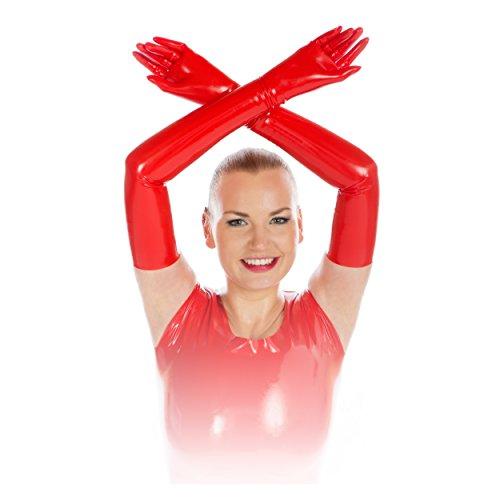 Rubberfashion sehr lange Latex Handschuhe extra dick Latexhandschuhe bis zum Oberarm mit veredelter Oberfläche für Frauen und Herren Menge: 1 Paar rot M