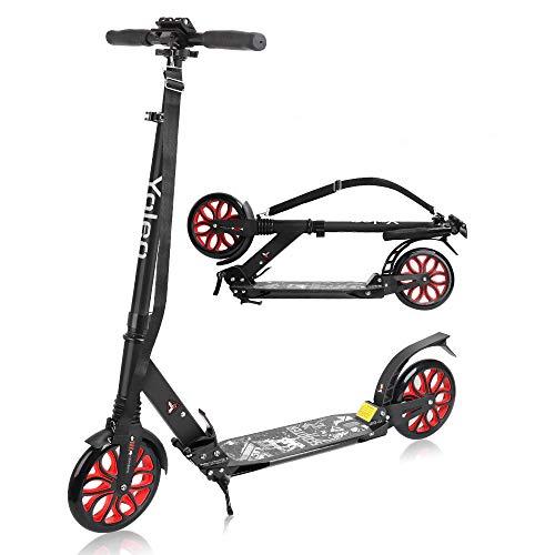 YOLEO Scooter für Erwachsene Roller Kickscooter Tretroller Cityroller für Kinder ab 10 Jahre 200mm Rad Klappbar und Höhenverstellbar mit Tragegurt (Schwarz)
