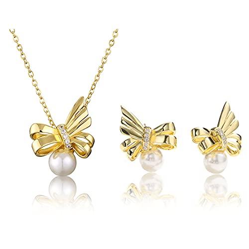 KNWSHT Juego de pendientes de plata para novia y collar de perlas para mujeres y niñas