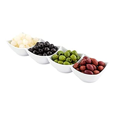 Porcelain Quadruple Bowl, Four Bowls, Bowl Set - Great for Snacks, Dips and More - White - 14.7 Inches - 1ct Box - Restaurantware