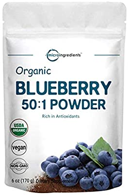 Maximum Strength Organic Blueberry 50:1 Concentrate Powder, 6 Ounce. Powerful Antioxidant and Vegan Source of Essential Vitamins. Non-GMO and Vegan Friendly.