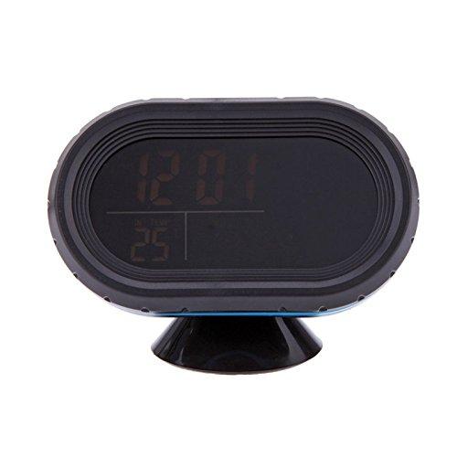Goliton Horloge électronique de Voiture,thermomètre de Voiture à l'intérieur et à l'extérieur Compteur de température-Noir