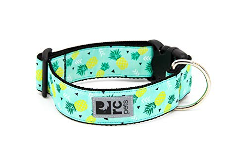 RC Pets 1-1/2 Inch Wide Adjustable Dog Clip Collar, Large, Pineapple Parade