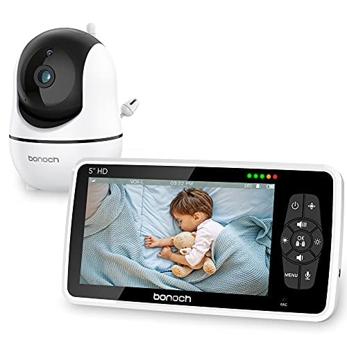 Baby Monitor bonoch Video Baby Monitor with Camera and Audio, Baby Camera Monitor No WiFi 720P 5' HD Display Night Vision, 22h Battery,1000ft Range, 4X Zoom 2-Way Audio Temperature Lullaby Elderly Pet