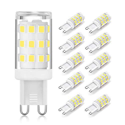 Jpodream® 4W Lampadine LED G9, Senza Flicker, 400 LM, Bianco Freddo 6000K, 4W (Equivalente Alogena da 40W), AC 220-240 V, Non-dimmerabile, Angolo del Fascio di Luce 360°(Confezione da 10)