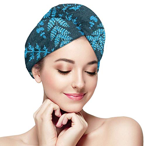 Enveloppement pour cheveux à séchage rapide, fond vert foncé, tourbillon floral, branches, image de détails, bonnet de douche absorbant