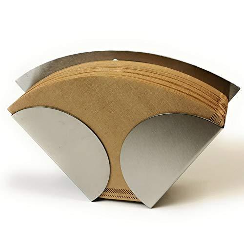 Kerafactum Kaffeefilterhalter Kaffeefilter Teefilter Halter Halterung für Filtertüten hochwertiger Edelstahl passend Tee Kaffee Filter Tüten Größe 4 zum Hinstellen Wandbefestigung Einwegfilter